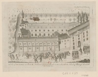 A. View of the Temple at Paris B. National Guard C. People in tumult, with the head of princess Lamballe the 1st of Sept.r 1792 [estampe]