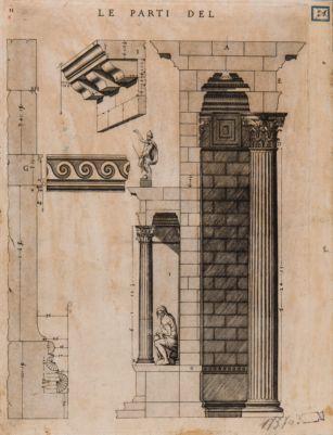 Foro d'Augusto, sezione di un lato del tempio di Marte Ultore