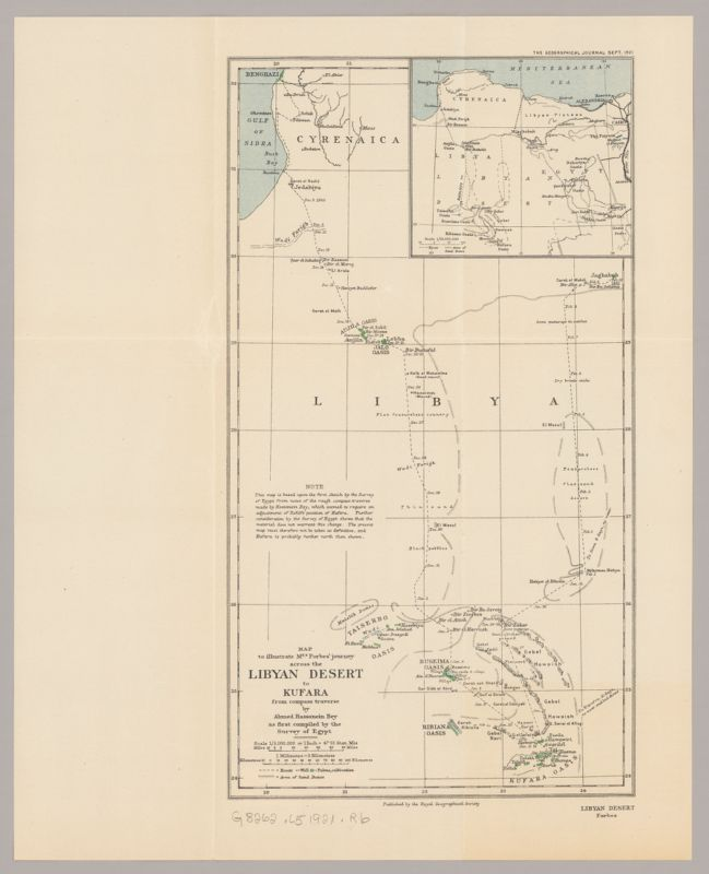 Map to illustrate Mrs. Forbes' journey across the Libyan desert to Kufara, from compass traverse by Ahmed Hassenein Bey, as first compiled by the Survey of Egypt