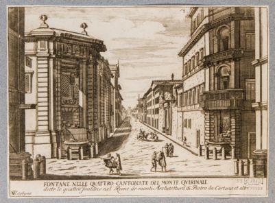 Chiesa di San Carlo alle Quattro Fontane. Veduta delle due fontane verso Porta Pia