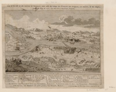 Vue de la ville & des environs de Mayence, avec celle des camps des Français, des Prussiens, des Saxons & des Hessois pendant le siège de 1793, l'an deux de la République française : [estampe]