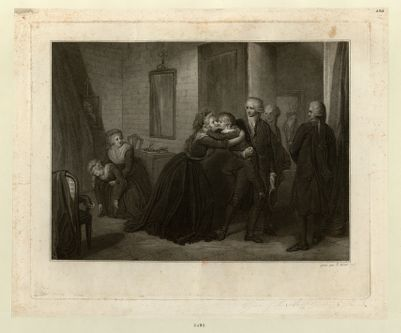 [Le  <em>Dauphin</em> enlevé à sa mère Marie-Antoinette par des commissaires ; Madame Elisabeth tient Marie-Thérèse Charlotte, evanouie, dans ses bras] [estampe]