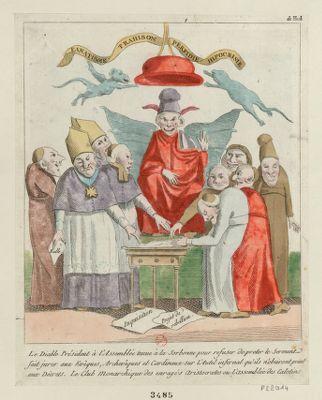 Le  Diable président à l'Assemblée tenue à la Sorbonne pour refuser de preter le serment fait jurer aux évêques, archevêques et cardinaux sur l'autel infernal qu'ils n'obeiront point aux décrets [estampe]