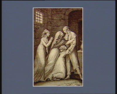 [<em>La</em>  <em>Fayette</em> visité dans sa prison par sa femme et ses deux filles] [estampe]