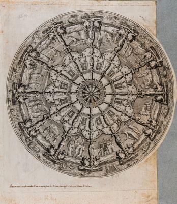 Pittura antica nella volta di un tempio fuori Roma dove oggi si chiama Torre di Schiavi