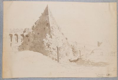 Piramide di Caio Cestio, veduta dall'interno delle mura