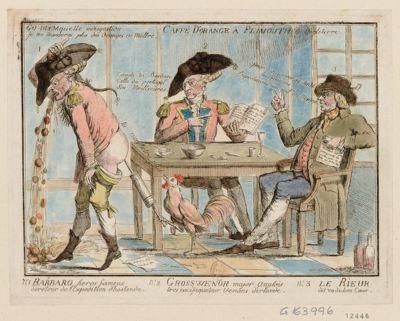 Caffé d'orange a Plimouth en Angleterre N.o 1 Barbaro heros fameux de retour de l'expedition d'Hostende N.o 2 Grosswenor major anglais tres pacificateur venans d'Irlande, n.o 3 le Rieur dit vadebon coeur : [estampe]