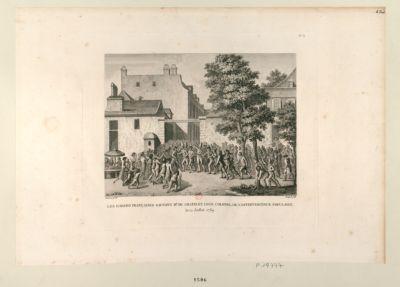 Les  Gardes françaises sauvant Mr du Chatelet, leur colonel, de l'effervescence populaire le 12 juillet <em>1789</em> : [estampe]