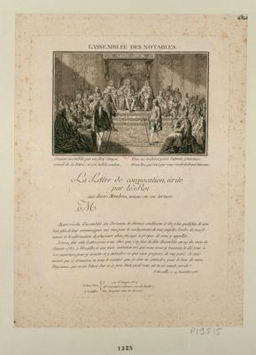 L' Assemblée des <em>notables</em> la Lettre de convocation, écrite par le Roi. .. : [estampe]
