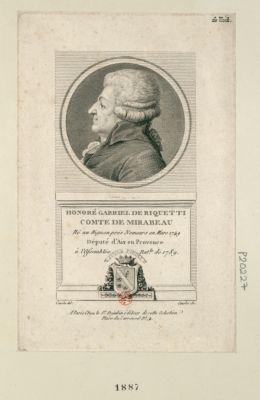 Honoré Gabriel de Riquetti comte de Mirabeau né au Bignon prés Nemours en mars 1749 député d'Aix en Provence à l'Assemblée nat.le de 1789 : [estampe]