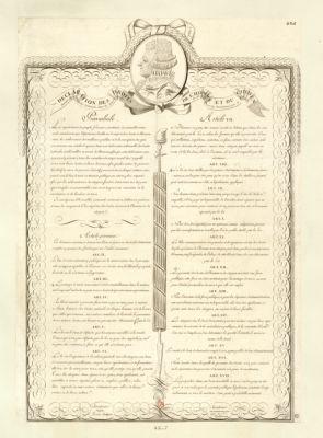 <em>Declaration</em> des droits de l'homme et du citoyen décrétés par l'Assemblée nationale, dans les séances, des 20, 21, 25 et <em>26</em> aout <em>1789</em>, sanctionnés par le roi : [estampe]