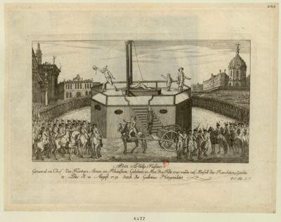 Adam Philip Kustine General en Chef der Frantzen Armee am. Rheinstrom. Gebohren in Mez d. 4 Febr. 1740 wurde auf Befell des Revolutions Gerichts in Paris d. 28 August 1793 durch die Guillotine hingerichtet : [estampe]