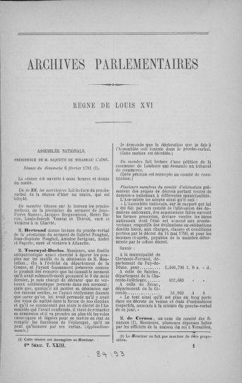 Tome 23 : Du 6 février au 9 mars 1791 - page 1