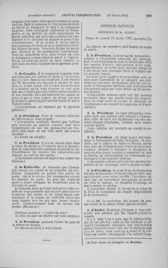 Tome 23 : Du 6 février au 9 mars 1791 - page 279