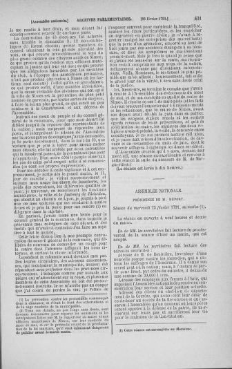 Tome 23 : Du 6 février au 9 mars 1791 - page 431