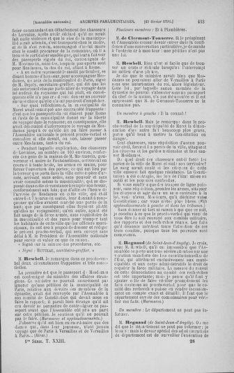 Tome 23 : Du 6 février au 9 mars 1791 - page 433