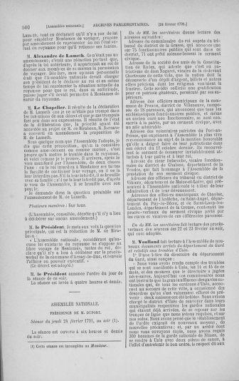 Tome 23 : Du 6 février au 9 mars 1791 - page 500