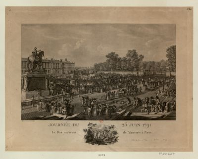 Journée du 25 juin 1791 le roi arrivant de Varennes à Paris : [estampe]
