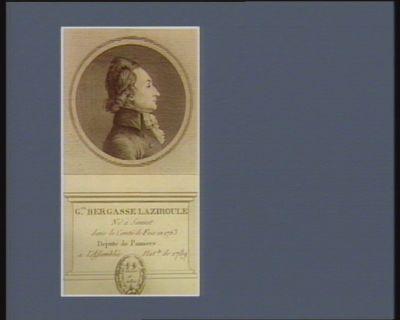 G.ge Bergasse Laziroule né à Sauvat dans le comté de Foix en 1763 député de Pamiers à l'Assemblée nat.le de 1789 : [estampe]