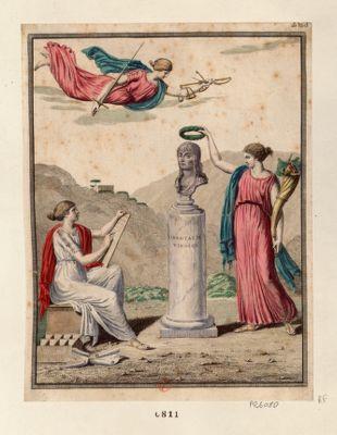 [Buste de Bonaparte couronné de lauriers par l'Abondance] [estampe]
