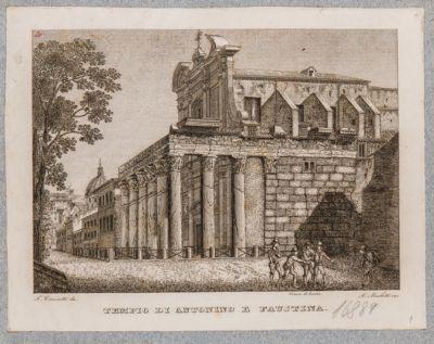 Tempio di Antonino e Faustina, scorcio del pronao e vista del fianco a levante