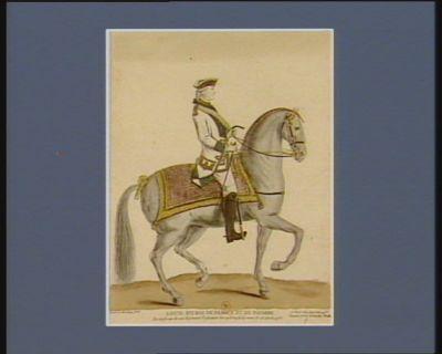 Louis XVI Roi de France et de Navarre en uniforme de son régiment d'infanterie lors qu'il en fit la revue le 23 avril 1778 : [estampe]