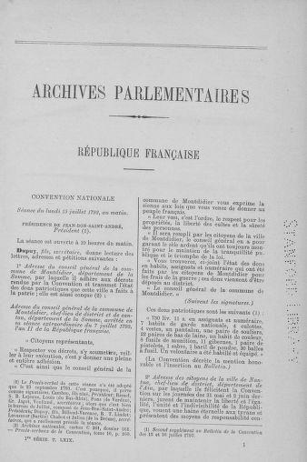 Tome 69 : Du 15 au 29 juillet 1793 - page 1