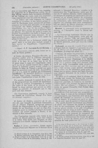 Tome 69 : Du 15 au 29 juillet 1793 - page 186