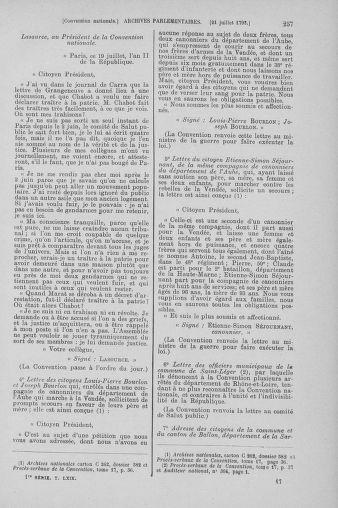 Tome 69 : Du 15 au 29 juillet 1793 - page 257