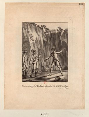 Courage et sang froid Dalexcia Grenadier <em>à</em> la 55 1/2 B.e de Ligne 24 Fructidor An VIII : [estampe]