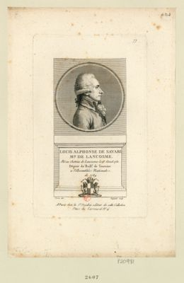 Louis Alphonse de Savari m.is de Lancosme né au chateau de Lancosme le 18 aoust 1750 député du baill.e de Touraine a l'Assemblée nationale de 1789 : [estampe]