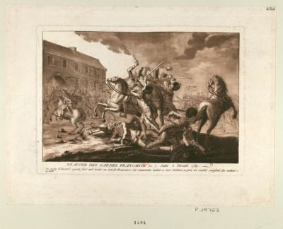 Bravour des Gardes francaisse le 7 juillet à Versaille 1789 un party d'husard ayant fort mal traité un Garde française ; ses camarades volent a son secours, a pres un combat sanglant, les mettent en fuite : [estampe]