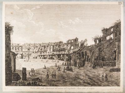 Colosseo, interno. Veduta della parte settentrionale dell'interno dell'anfiteatro Flavio