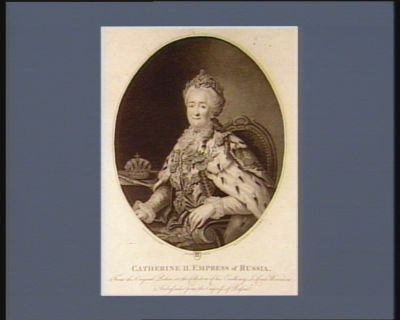 Catherine II empress of Russia : from the original picture in the collection of his Excellency <em>le</em> comte Woronzow ambassador from the Empress of Russia : [estampe]