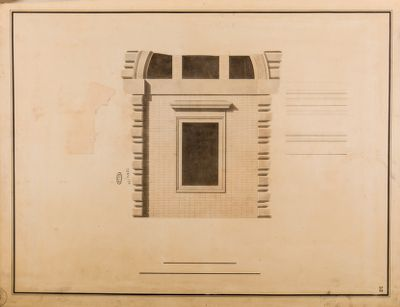 Piazza del Popolo. Fabbricato Torlonia, finestra, dettaglio architettonico