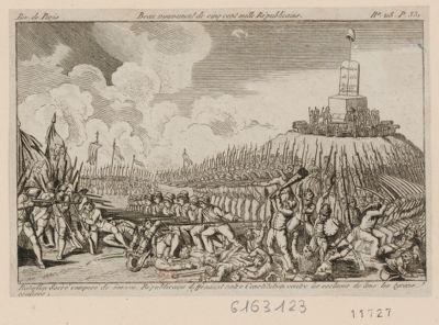Beau mouvement de cinq cent mille républicains bataillon sacré composé de 500.000 républicains deffendant notre Constitution contre les esclaves de tous les tyrans coalisés : [estampe]