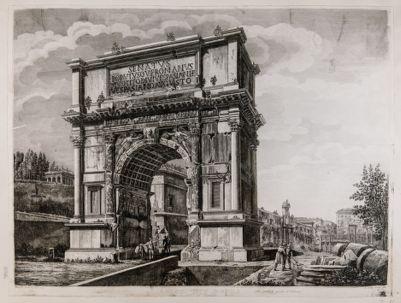 Arco di Tito, scorcio dell'arco con sfondo di S. Francesca Romana