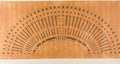 Colosseo, pianta di una metà del monumento