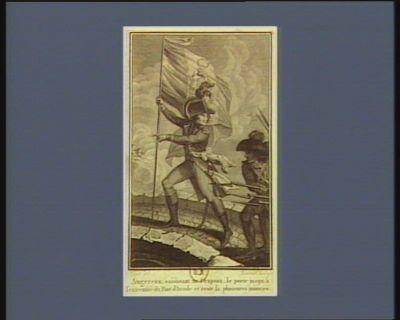 Augereau, saisissant un drapeau, le porte jusqu'à l'extremité du pont d'Arcole et reste la plusieurs minutes [estampe]