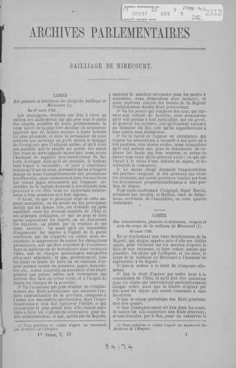 Tome 4 : 1789 – États généraux. Cahiers des sénéchaussées et baillages [Mirecourt - Paris (hors les murs)] - page 1