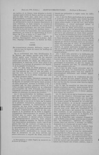 Tome 4 : 1789 – États généraux. Cahiers des sénéchaussées et baillages [Mirecourt - Paris (hors les murs)] - page 6