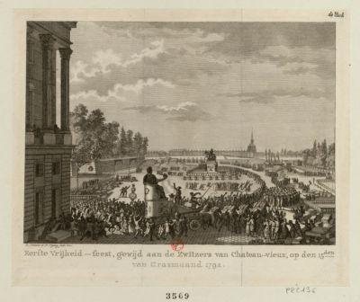 Eerste Vrijheid-feest, gewijdaan de Zwitzers van Chateau-vieux [estampe]