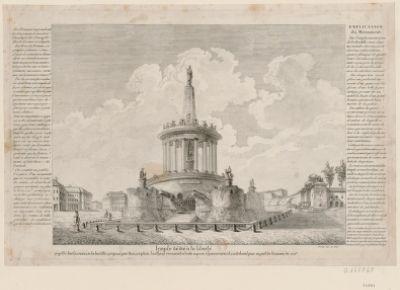 Temple dédié à la liberté projetté sur les ruines de la Bastille, proposé par souscription, l'auteur renonçant à toute espèce d'honoraires et contribuant pour sa part de la somme de 300 £... : [estampe]