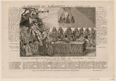 La  Rentrée du Parlement du 24 septembre 1788 aujourd hui le peuple ressent dans son ame une allégresse extrême il ne cessera par reconnoissance d'offrir des voeux pour le protecteur de la <em>nation</em>, notre auguste monarque qui se fait un plaisir de marcher sur les traces du grand Henry quatre... : [estampe]
