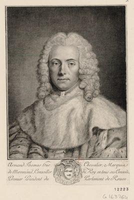 Armand Thomas Hüe chevalier marquis de Miroménil, conseiller du Roy en tous ses conseils premier président du Parlement de Rouen [estampe]
