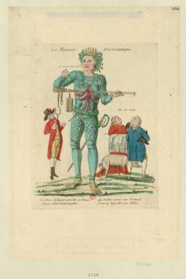 La  Romaine aristocratique le <em>marc</em> <em>d'argent</em> préside en France, Esprit talent dons superflus, Au diable vertus sans finances, Beaucoup d'appelés peu d'élus : [estampe]