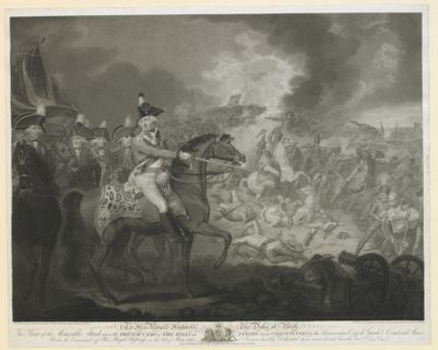 To his Royal Highness the Duke <em>of</em> York this print <em>of</em> the memorable attack upon the French, camp on the hills <em>of</em> Famars near Valenciennes by the Hanoverian corp de garde combined armes under the command <em>of</em> this Royal Hignes on the 23d <em>of</em> May 1793... : [estampe]