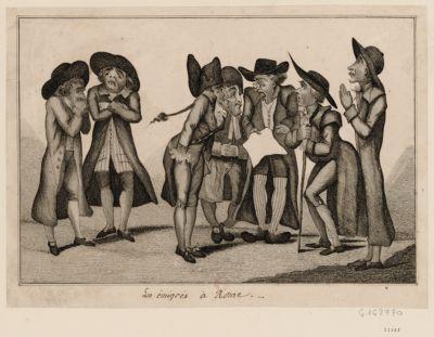 Les  Emigres a Rome a la lecture de la proclamation du général Berthier le 16 fevrier 1798 et le 28 pluviose de l'an VI de la République française... : [estampe]