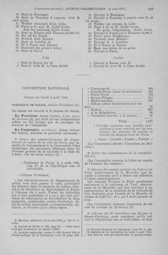 Tome 70 : Du 30 juillet au 9 août 1793 - page 249