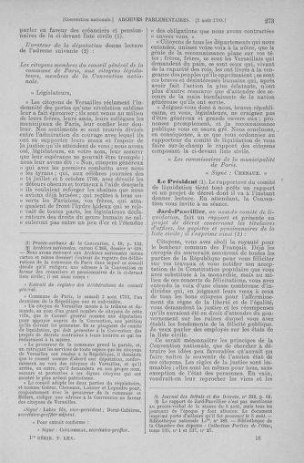 Tome 70 : Du 30 juillet au 9 août 1793 - page 273